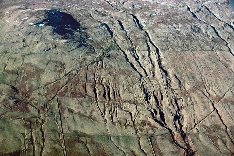Oblique aerial view of head-dykes and braided trackways above Ben Lawers and Easter Croftintygan farms, Lochtayside. Taken from SE.