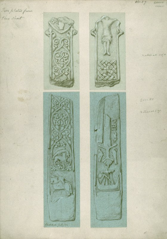 Original drawings for plates LXXXVI and LXXXVII of Sculptured Monuments of Iona and the West Highlands by James Drummond. The reverse of a fragment of a sculptured cross (as on plate LXXXV). Obverse of above (as on plate LXXXV). Lower part of shaft of a sculptured cross, bearing an armoured man on horseback and foliaceous scrolls coming from the tails of two animals. Insc: 'Saddell July/70.' Reverse of above, bearing a galley, a sword, two birds and the remains of a defaced inscription.