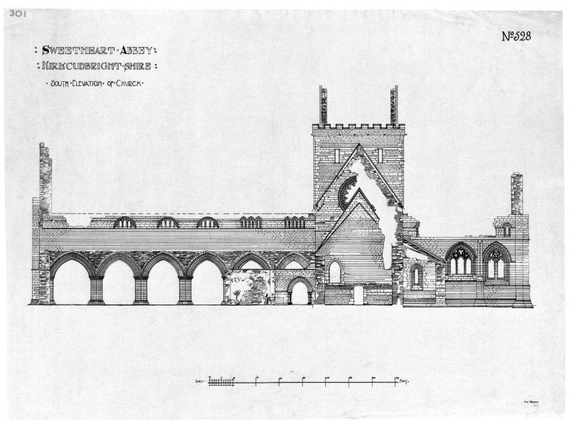 Scanned image of drawing showing South elevation.