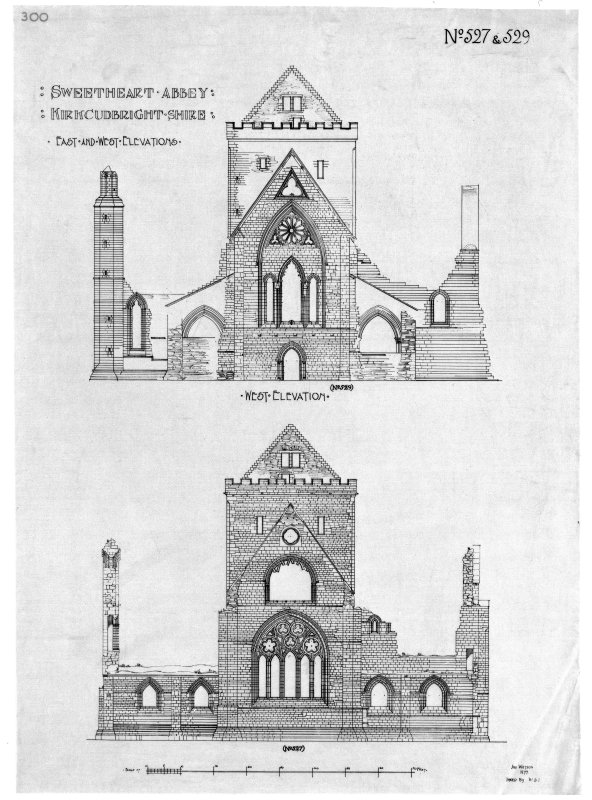 East and West elevations of Sweetheart Abbey.
