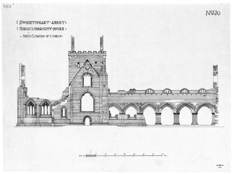 Scanned image of drawing showing North elevation.