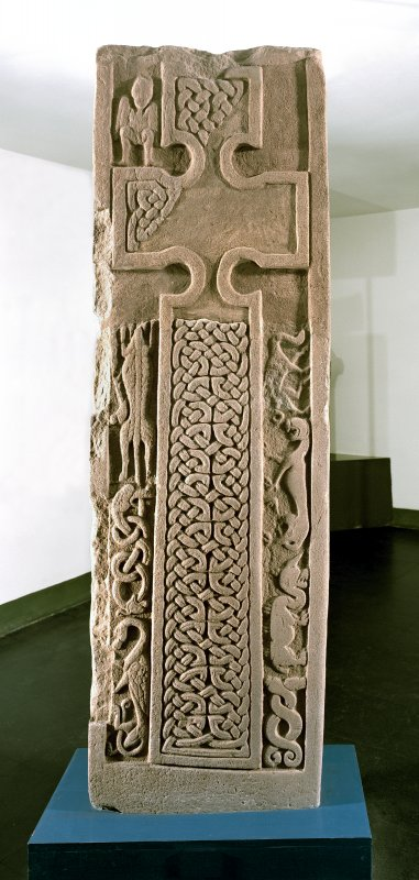 View of face of the Drosten Stone Pictish cross-slab (St Vigeans no.1).