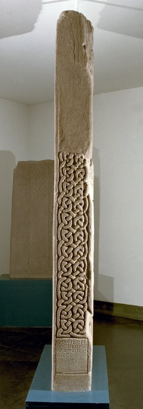 View of interlace and inscribed panel on edge of the Drosten Stone Pictish cross-slab (St Vigeans no.1).