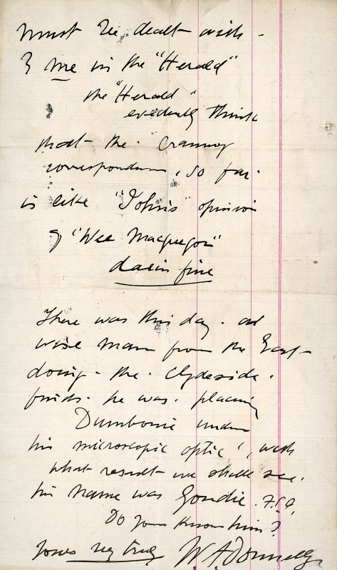 Letter from William Donnelly to Ludovic Mann,  relating to the Clyde crannogs.