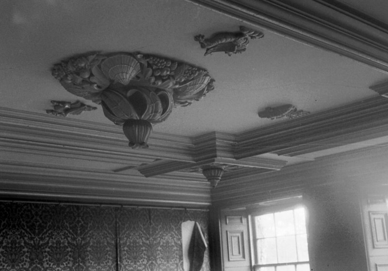 Interior. Detail of staircase well ceiling.
