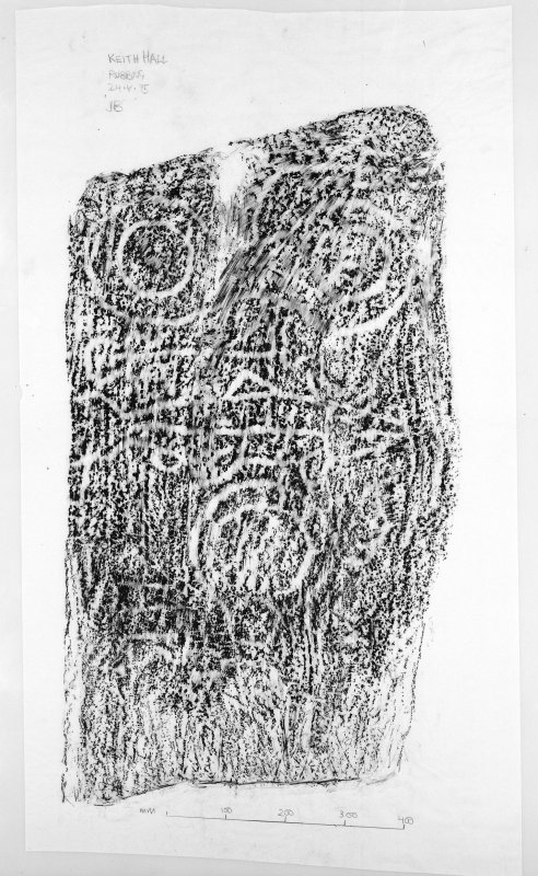 Scanned image of photograph of rubbing of symbol stone.