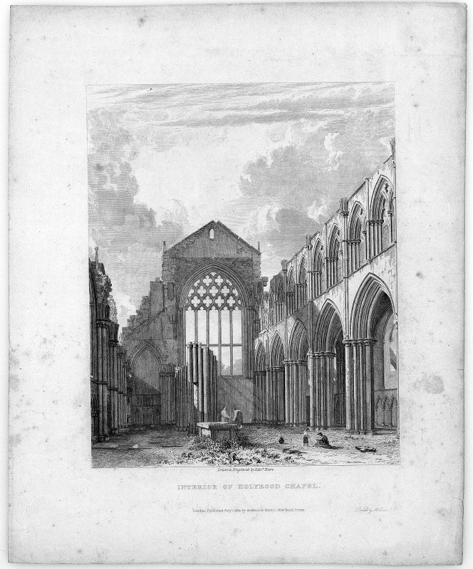 "Scanned image of engraving showing Interior view of Holyrood Abbey Original inscribed: ""Interior of Holyrood Chapel.  Drawn & Engraved by Edw.d Blore. London, Published July 1, 1821, by Rodwell & Martin, New Bond Street. Printed by McQueen & Co."""