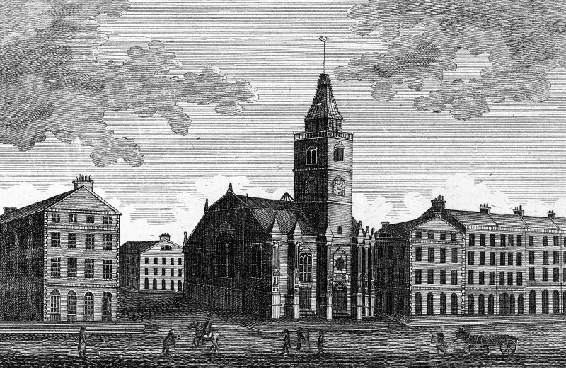 "Scanned image of engraving showing general view. Insc. ""McIntyre Sculpsit.    A View of the Tron Church and Hunters Square &c. from the North East"""