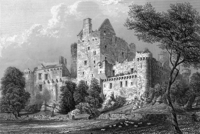 Scanned image of engraving showing Craigmillar Castle from South East Original insc: 'Craigmillar Castle. South East View. Drawn by R.W.Billings. Engraved by J.Godfrey'