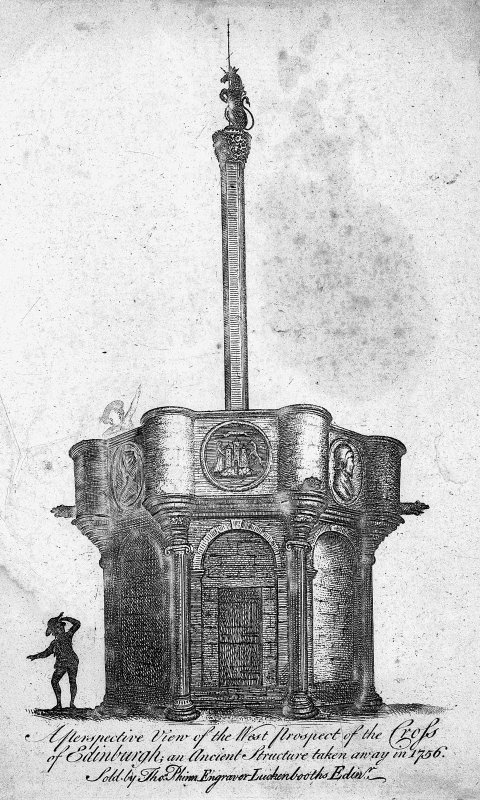 Scanned image of engraving showing perspective view of the West proposal of the Cross of Edinburgh