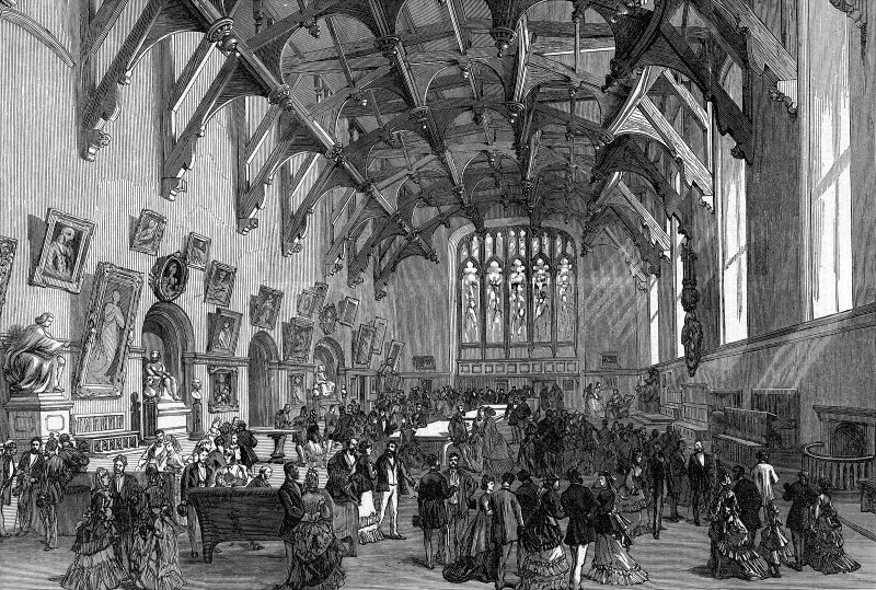 Interior view of Parliament Hall Scanned image of engraving from Illustrated London News, 12 August 1871.