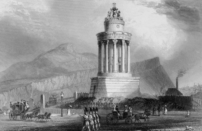 Burns' Monument, Regent Road, Edinburgh.  Engraving showing view of monument with soldiers and carriages in foreground.