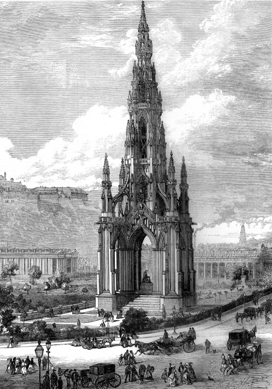Engraving showing view of Scott Monument, with the Mound and Edinburgh Castle in the background.