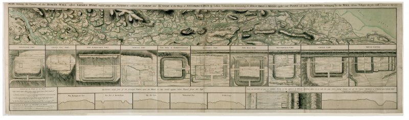 Drawing showing the course of the entire Antonine Wall along with plans and sections of the main forts and fortlets along the Wall. Surveyed in 1755. Titled 'Plan showing the course of the Roman wall called grime's Dyke...together with plans of those stations belonging to the wall'.