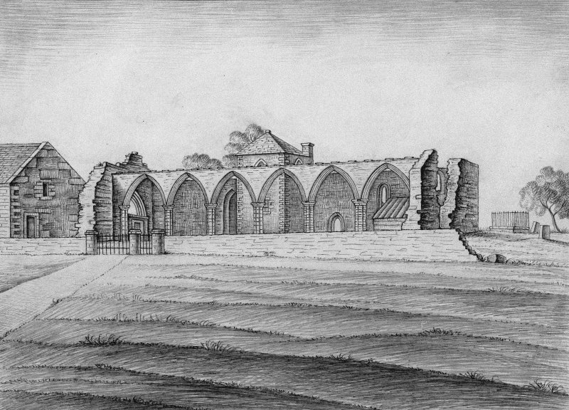 Scanned image of drawing showing church ruins from South.