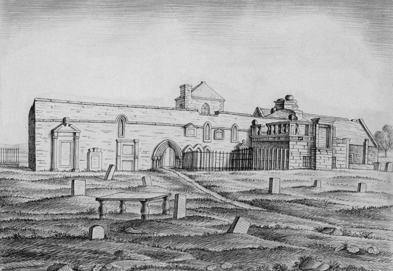 Scanned image of drawing showing church ruins from North.