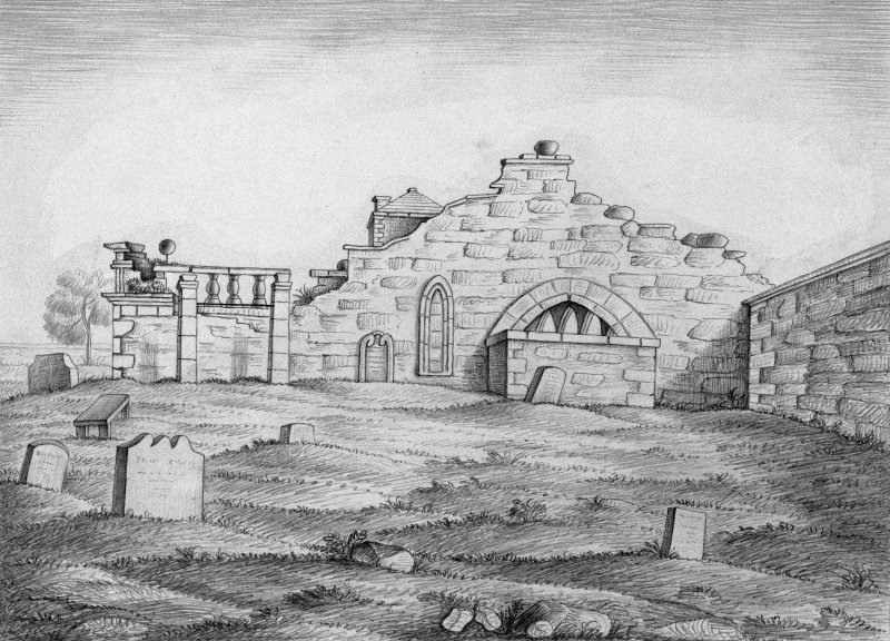 Scanned image of drawing showing church ruins from West.