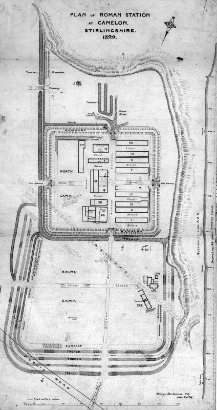 Plan of Camelon Roman Fort from Mungo Buchanan excavation in 1900-1.