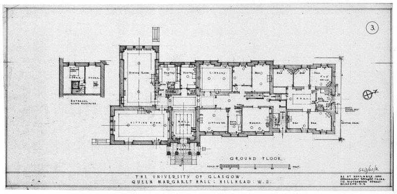 Drawing showing annotated plan of ground floor. Titled: 'Ground floor  The University of Glasgow.  Queen Margaret Hall: Hillhead: W2.  As at November, 1950'. Signed: 'Alexander Wright FRIBA 110 Blythswood Street Glasgow C2.'