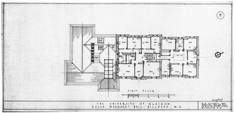 Drawing showing annotated plan of first floor. Titled: 'First floor  The University of Glasgow.  Queen Margaret Hall: Hillhead: W2.  As at November, 1950'. Signed: 'Alexander Wright FRIBA 110 Blythswood Street Glasgow C2.'