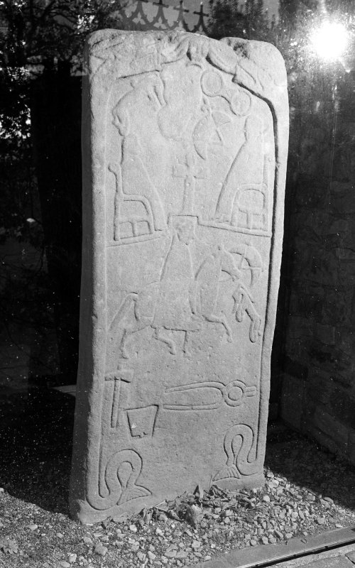 View of reverse of Dunfallandy Pictish cross slab.
