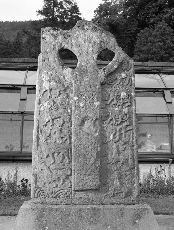 View of face of Boar Stone of Gask Pictish cross slab at Moncrieffe House.