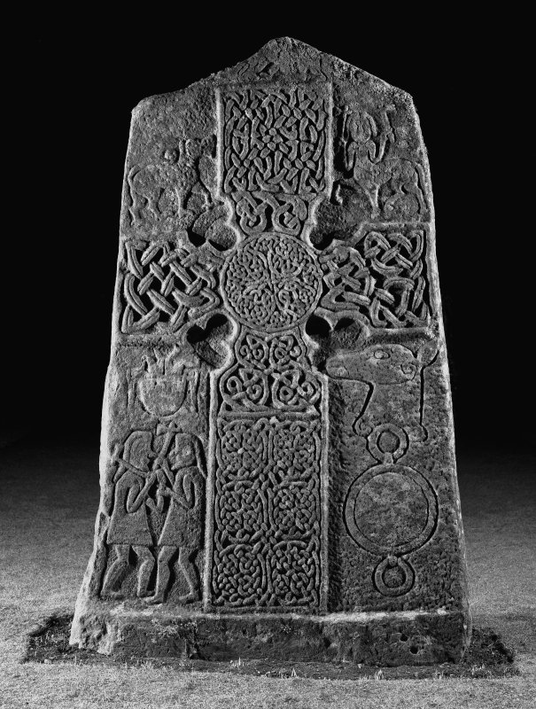 Scanned image of Pictish cross slab in manse garden, view of west (front) face (flash)