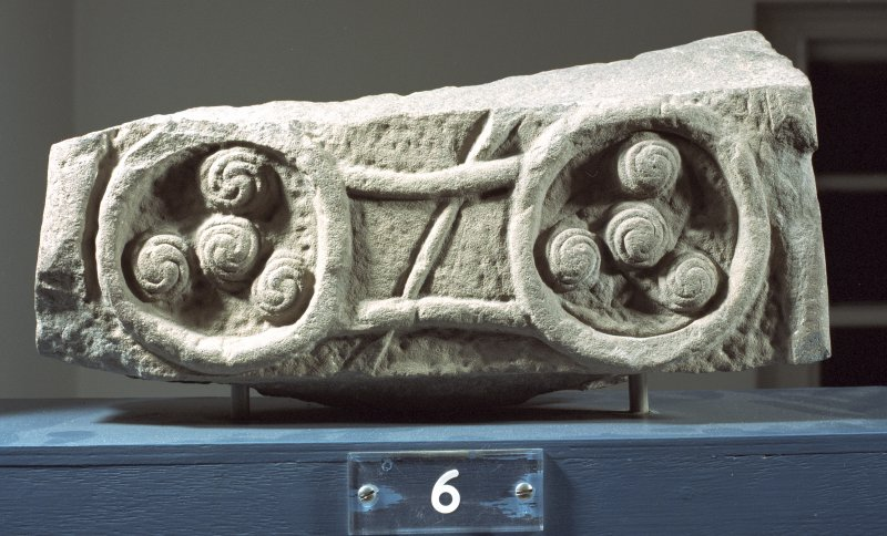 View of reverse of Pictish cross-slab fragment (St Vigeans no.6).