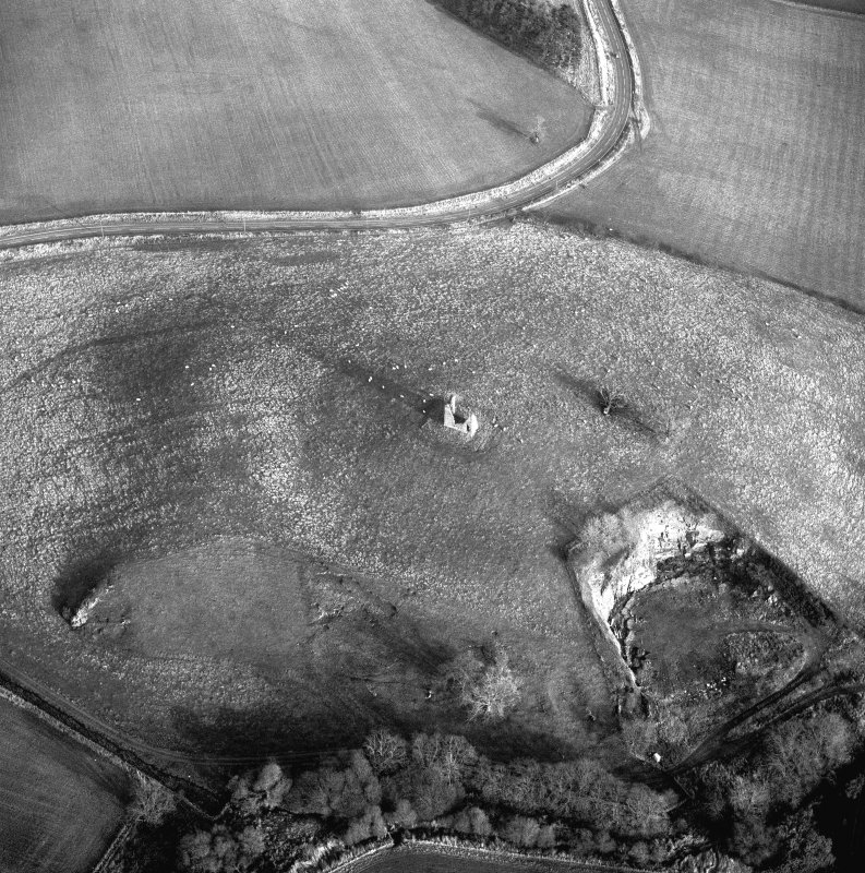 Scanned image of oblique aerial photograph centred on tower and fort from W.