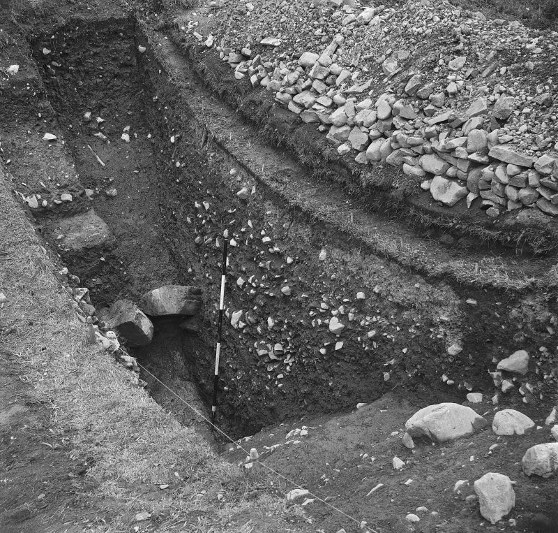 View of the excavation at Mote of Urr 1951-1953.