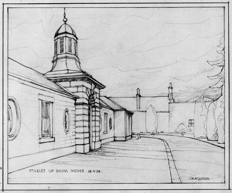 Scanned image of drawing showing stables at Drum House.