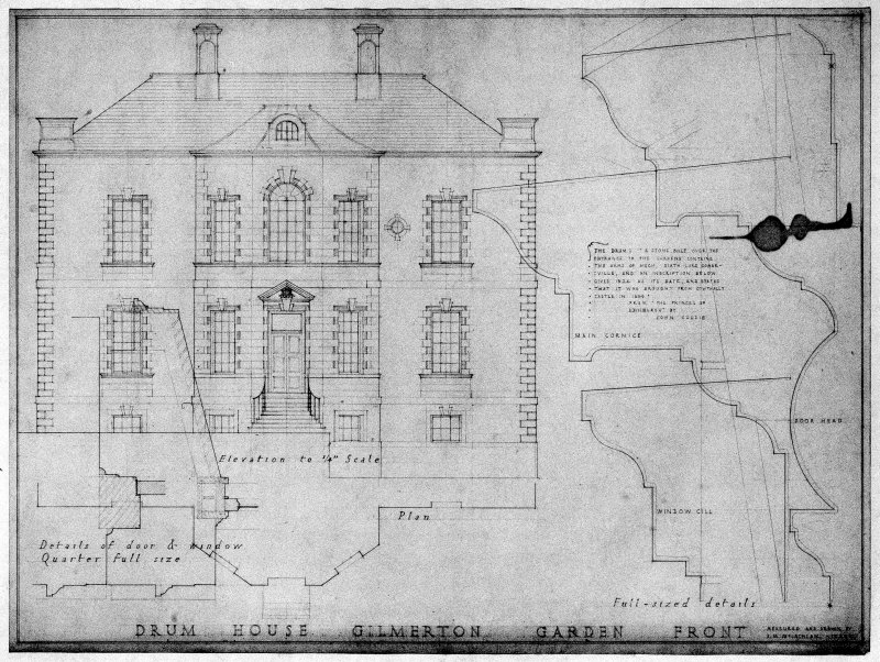 Scanned image of drawing showing elevation, and details.