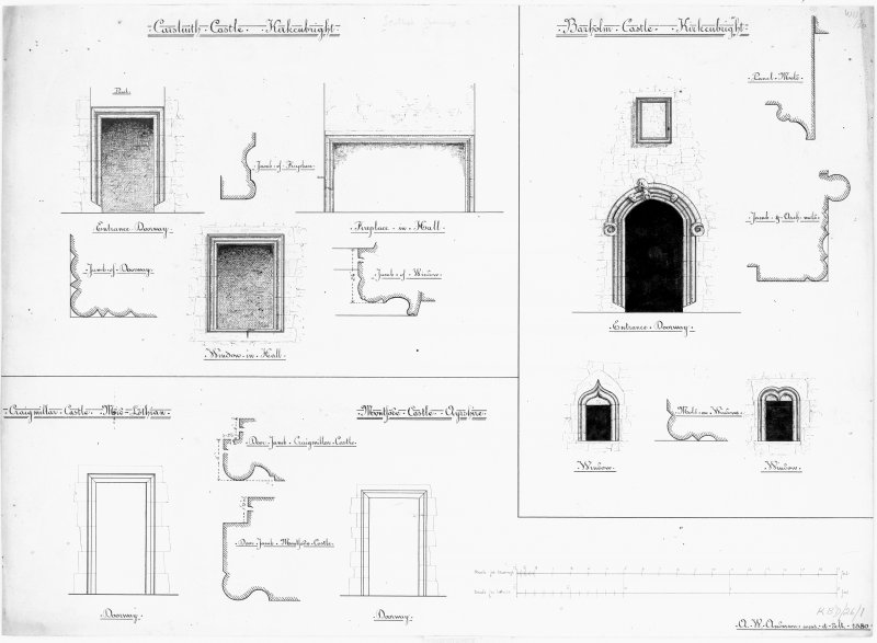 Scanned image of drawing showing doorways, fireplace and windows at Barholm Castle, Carsluith Castle, Craigmillar Castle and Montsode Castle.