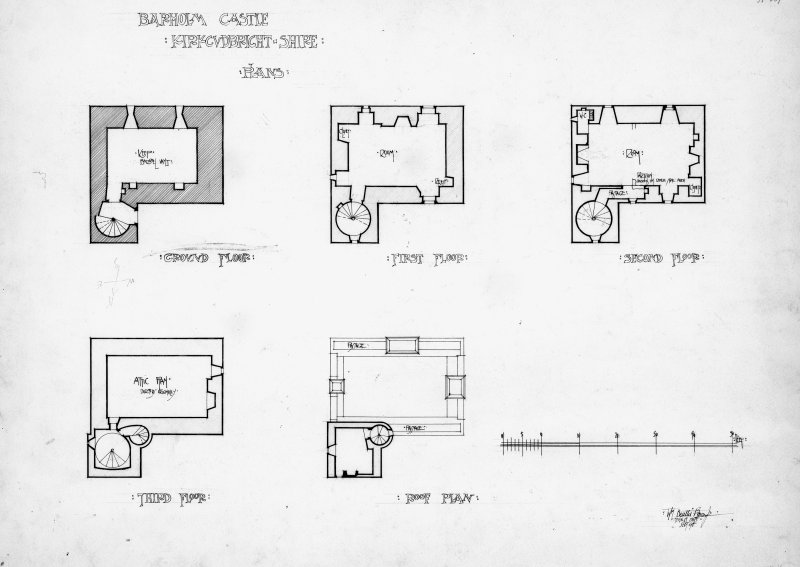 Scanned image of drawing showing plans.