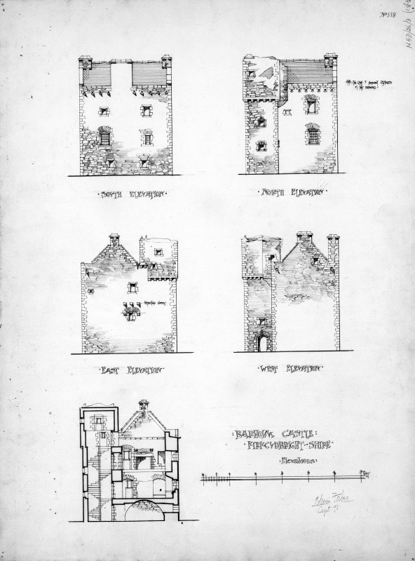 Scanned image of drawing showing elevations and section.