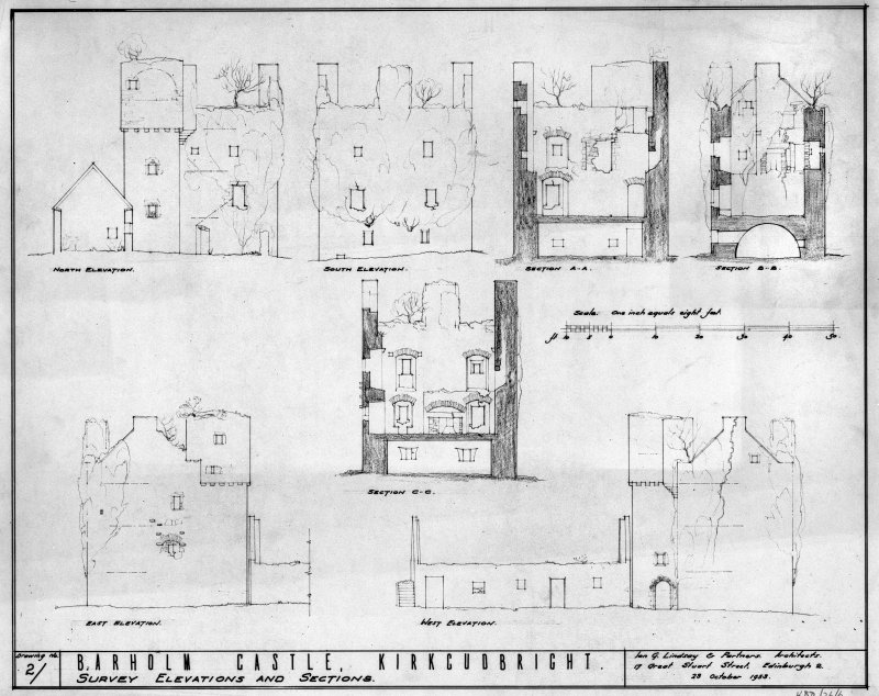 Scanned image of drawing showing sections and elevations.