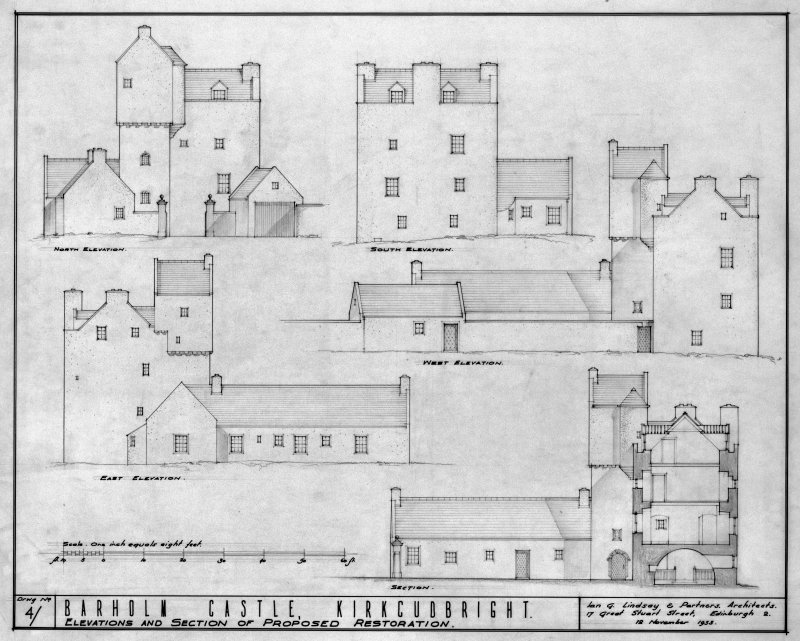 Scanned image of drawing showing elevations and section of proposed restoration.