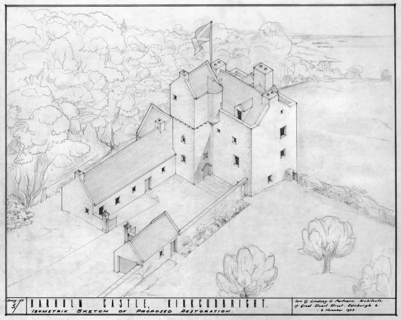 Scanned image of drawing showing isometric sketch of proposed restoration.