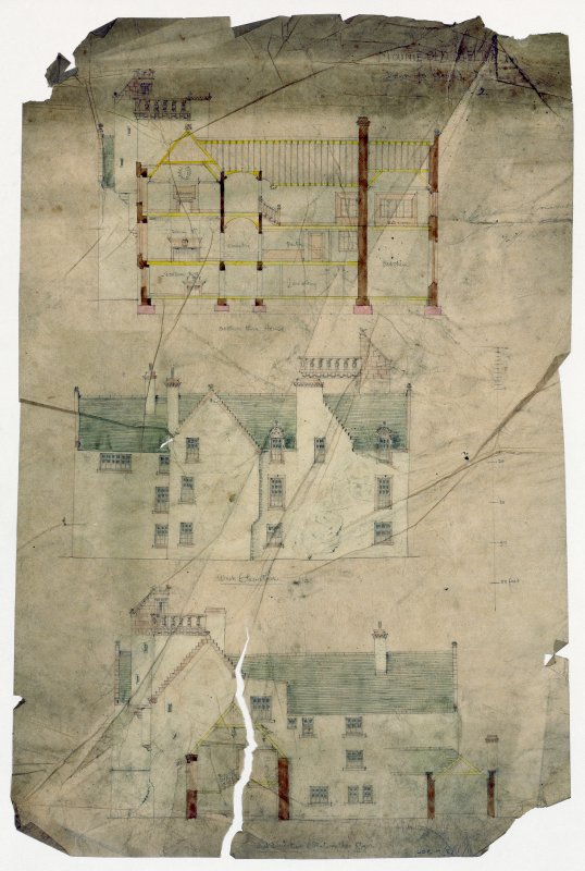 Scanned image of drawing showing sections and elevations as existing and proposed additions.