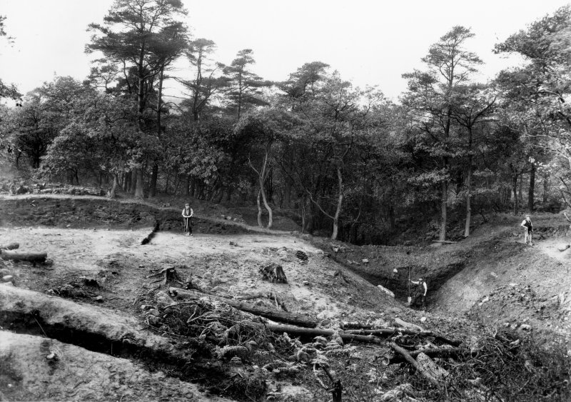 View of the excavation at Rough Castle Roman fort c1904 by Mungo Buchanan showing detail of rampart.