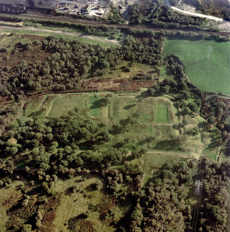 NNW oblique aerial view of Rough Castle Roman Fort and the Antonine wall.