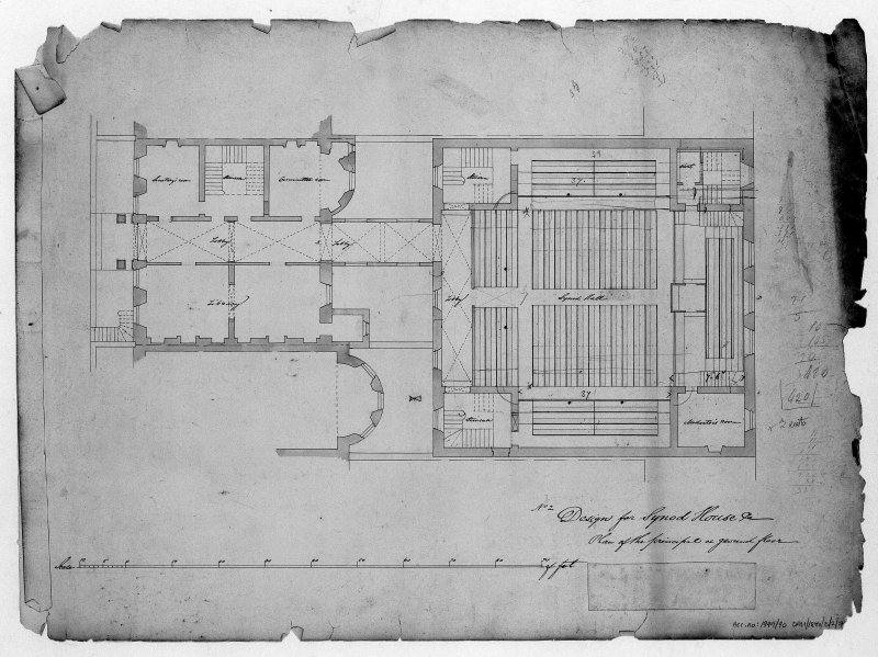 Scanned image ofdrawing showing ground floor plan. Title: 'No.2 Design for Synod House Etc  Plan of the principal or ground floor'. Label in bottom right covering insc: 'Edinburgh 26 Feby 1846  Arch Scott Arct'.