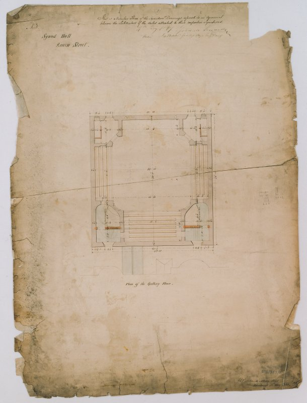 Scanned image of drawing showing plan of gallery floor. Annotated with contract details and signatures. Titled: 'No.3 Synod Hall, Queen Street.' Insc: '36 Albany Street, Edinburgh.' Signed : 'J.D. Peddie.'