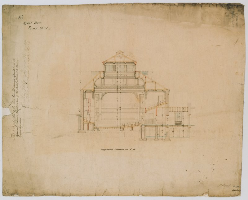 Scanned image of drawing showing longitudinal section on the line C.D. Annotated with contract details and signatures. Titled: 'No.6. Synod Hall, Queen Street.' Insc: '36 Albany Street, Edinburgh.' Signed: 'J.D.Peddie.'