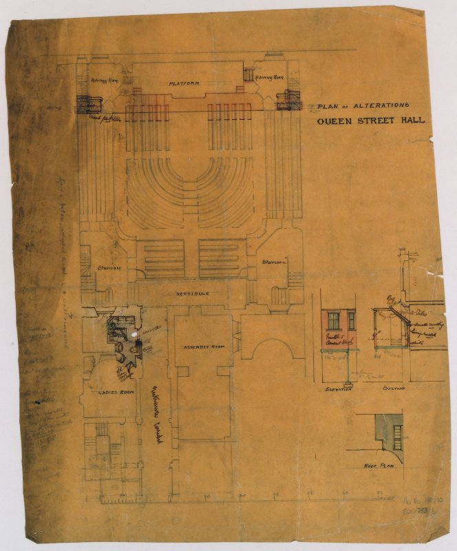 Scanned image of drawing showing plan of alterations. Titled: 'Plan Of Alterations Queen Street Hall.'