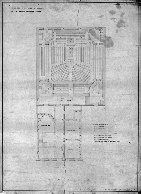 Scanned image of drawing showing ground floor plan with annotations showing use of space and seating areas. Title: 'No2 Design for Synod Hall & Offices  Of  The United Secession Church.' Insc: 'D'.