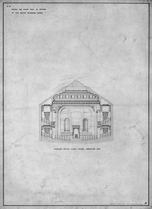 Scanned image of copy of drawing showing transverse section looking towards moderators seat. Title: 'No4. Design for Synod Hall & Offices  Of  The United Secession Church.' Insc: 'D'.