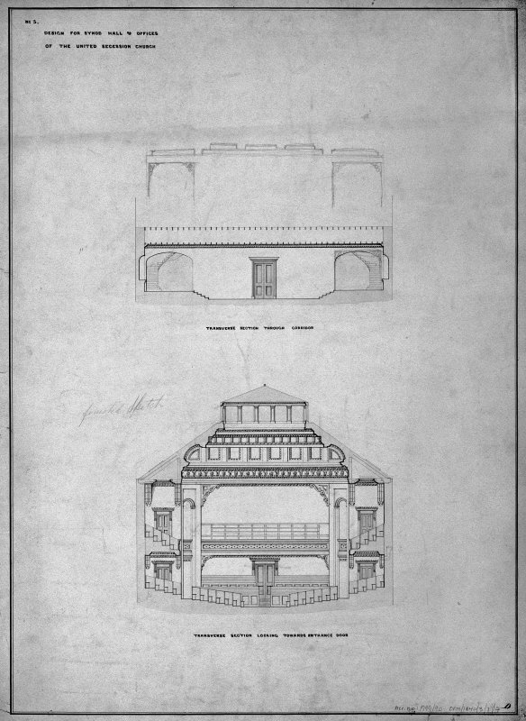 Scanned image of drawing showing transverse sections through corridor and looking towards entrance door. Title: 'No4. Design for Synod Hall & Offices  Of  The United Secession Church.' Insc: 'Finished Sketch'.  'D'. Insc on verso: 'Sketches of Drawings for Synod Hall.'