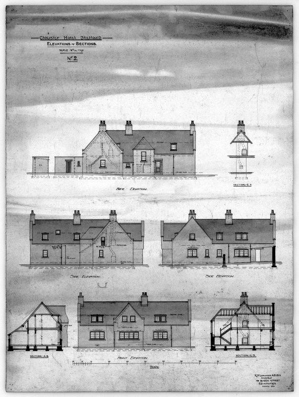 Clouster Hotel. Elevations and sections.
