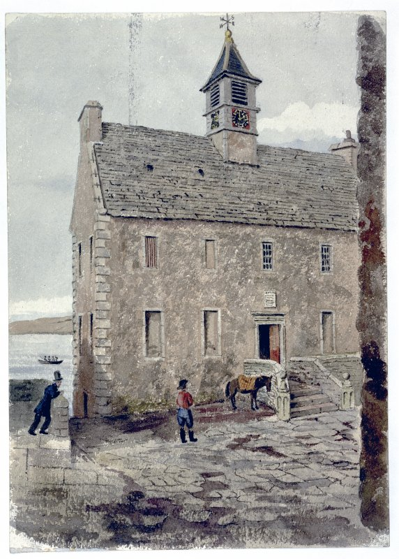Photographic copy of painting showing view of town hall.
